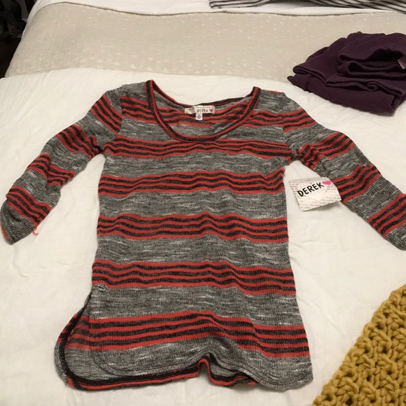 4d8330bf0975b Gray/red/dark grey stripe 3/4 sleeve top. With tag. NWT. Derek Heart. $7  $30. Size